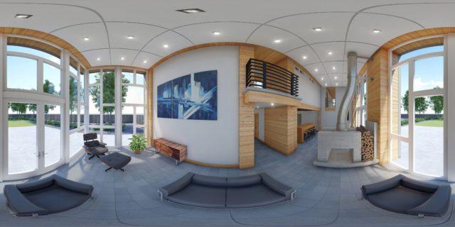 une visite virtuelle à 360° de l'intérieur d'une villa