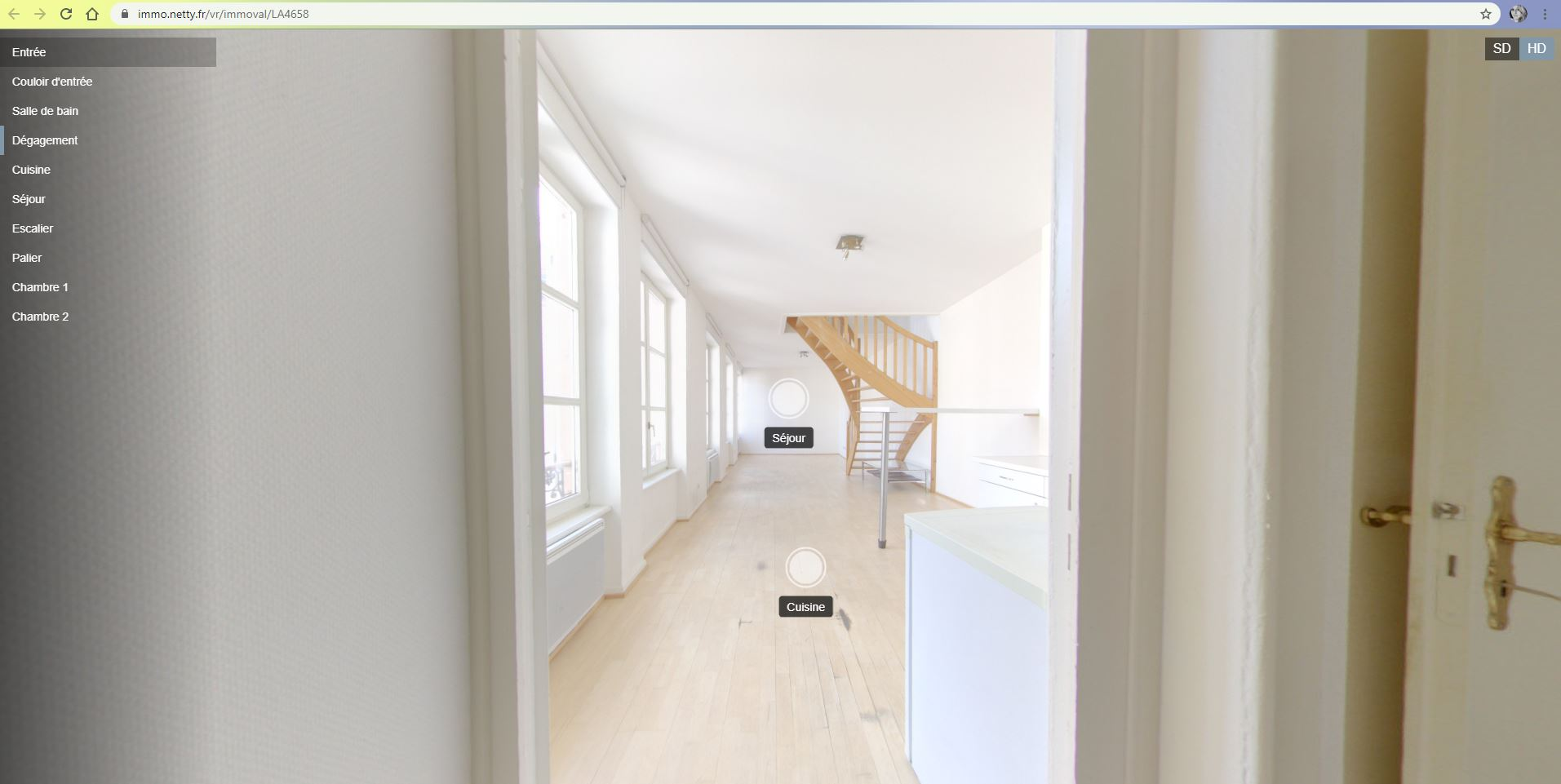 une vue d'un appartement réalisée grâce aux visites virtuelles