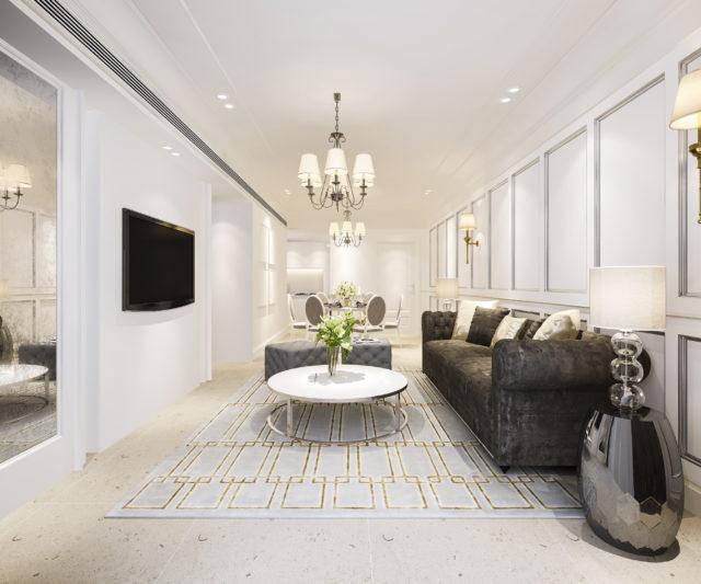 une pièce tout en longueur joliment aménagée et décorée