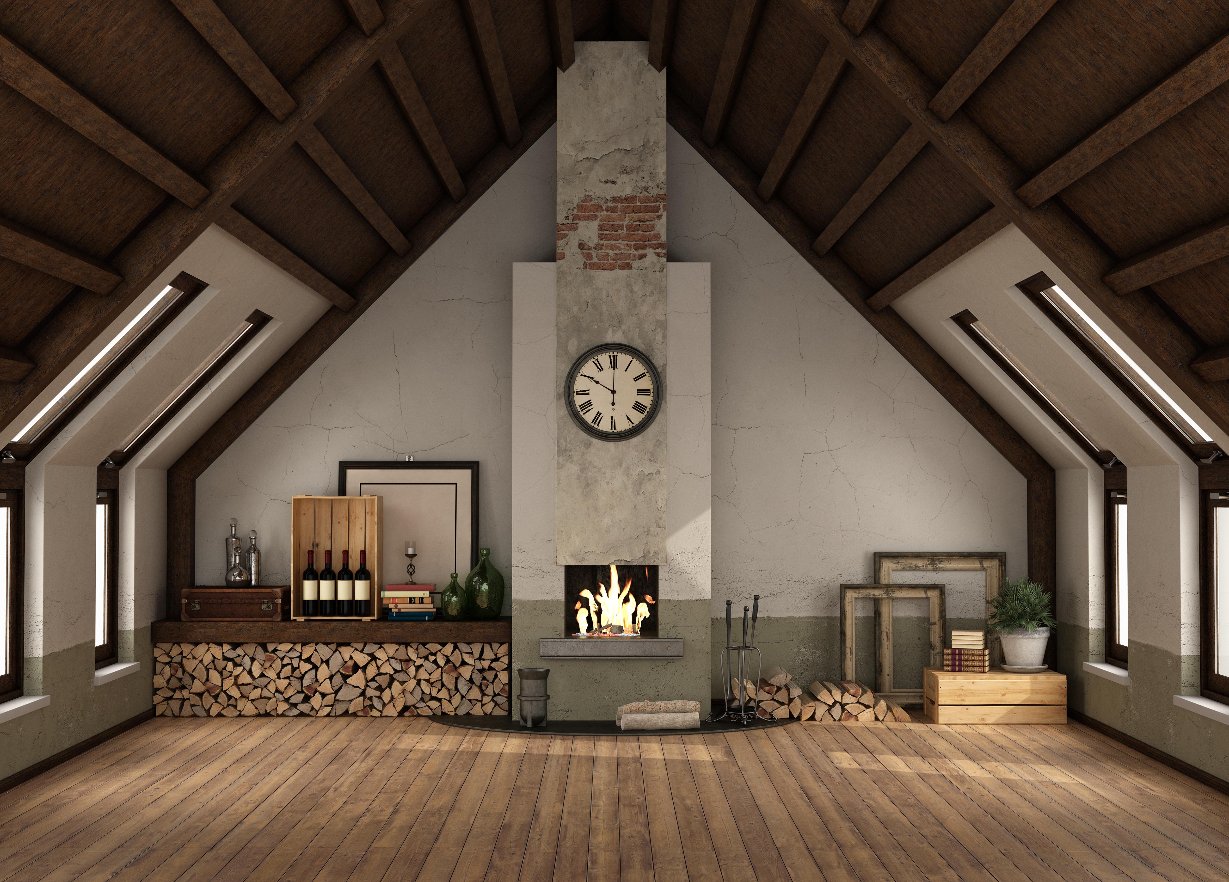 Aménager des combles avec une cheminée crée une pièce à vivre chaleureuse