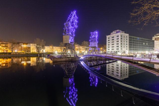 Les grues de la Presqu'île Malraux à Strasbourg